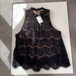 Fire Los Angeles crocheted black sleeveless top